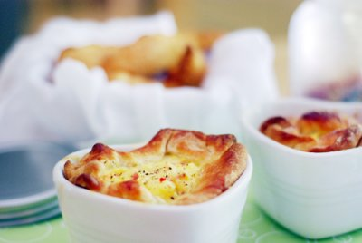 Spinach & Bacon Baked Egg Souffle