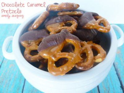 Chocolate Caramel Dip with Pretzels