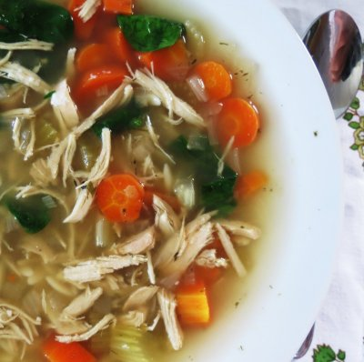 Low Fat Lemon Chicken Orzo Soup Bowl