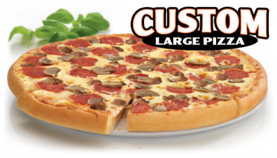 Cheese, Pepperoni, Ham, Mushroom, Onion, Green Pepper Pizza, Large Round