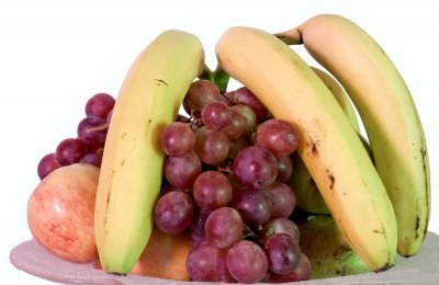 Fresh Fruit Smoothie with Bananas, Pineapple and Grapes