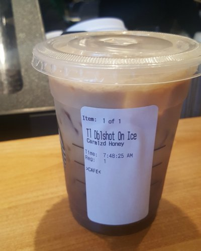 Iced Caramelized Honey Latte, 2% Milk (Venti)
