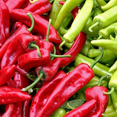 Peppers, hot chili, green, raw