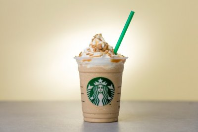 Caramel Frappucino Blended Coffee, Soy Milk (Venti)