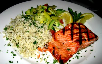 Grilled Salmon, served on Rice Pilaf