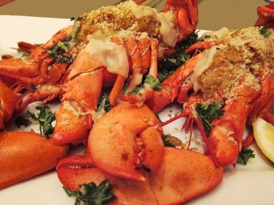 4 oz Lobster Tails-2 Steamed and Light Balsamic Vinaigrette House Salad