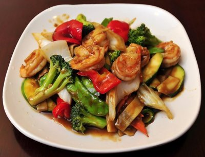 Restaurant, Chinese, shrimp and vegetables