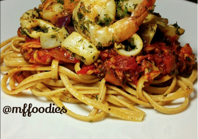 Seafood Pasta Medley with Red Sauce