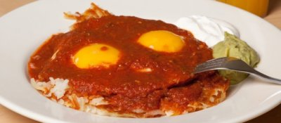Huevos Rancheros with Beefy Red Chili for Late Night