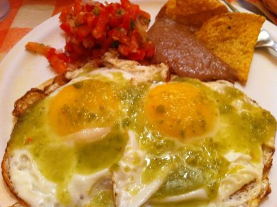 Huevos Rancheros with Pork Green Chili for Late Night