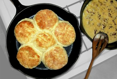 Biscuits & Gravy with Eggs for Late Night