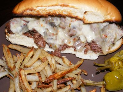 Roast Beef Garlic Melt with Fries