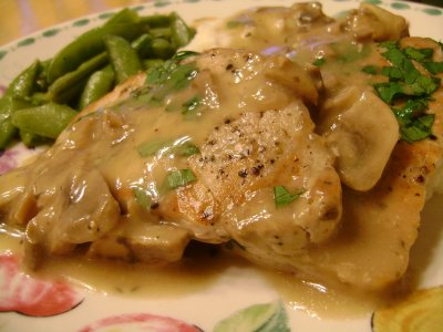 Creamed Pork Chops with Mushrooms and Carrots