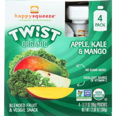 Twist Organic, Apple, Kale & Manog, Blended Fruit & Veggie Snack