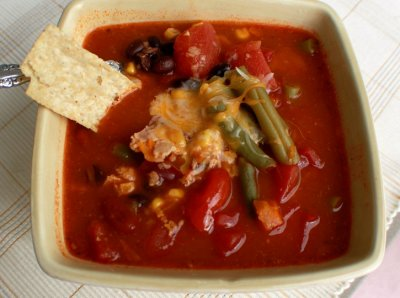 Cup of Southwest Style Chicken Tortilla Soup