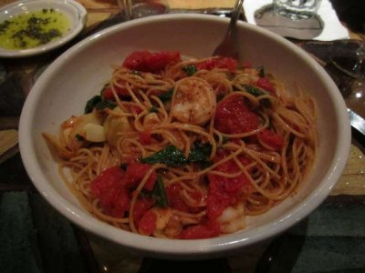 Pasta Sostanza with Shrimp and whole grian spaghetti