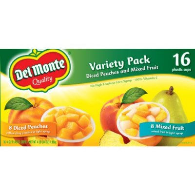 Variety Pack, Diced Peaches, Mixed Fruit, Cups