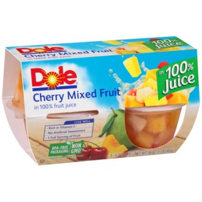 Fruit Cups, Cherry Mixed Fruit In 100% Fruit Juice 4 Oz Cups