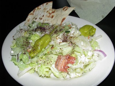Fast foods, salad, vegetable, tossed, without dressing, with cheese and egg