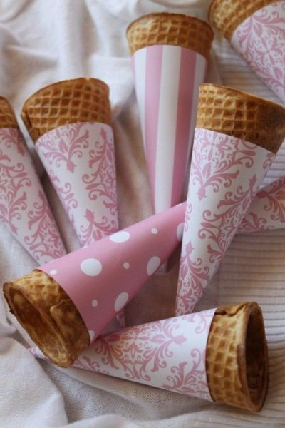 Waffle Cones with Paper Sleeves