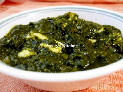 Spinach with Cottage Cheese and Sauce, Palak Paneer