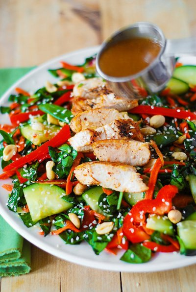 Asian Peanut Salad with Grilled Chicken