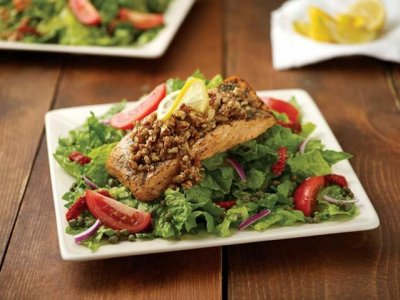 Honey Pecan Crusted Salmon Salad with Roasted Garlic Ranch Dressing