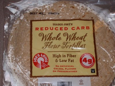 Reduced Carb Whole Wheat Flour Tortillas