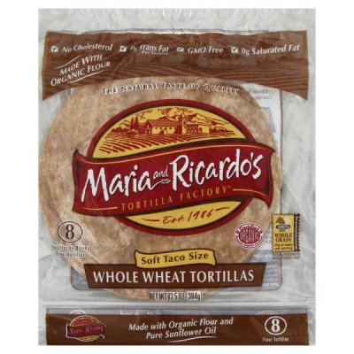 Organic Whole Wheat Tortillas, Soft Taco Size