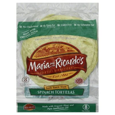 Soft Taco Size Spinach Tortillas