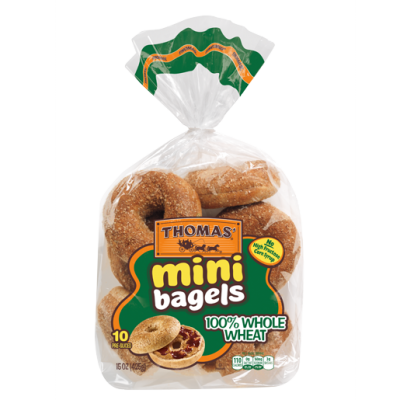 Mini Bagels, Whole Grain, 100% Whole Wheat